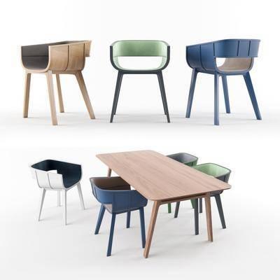 单椅, 现代椅, 休闲椅, 餐桌, 餐椅, 组合, 现代
