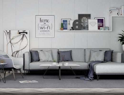 北欧, 客厅, 沙发, 挂画, 层架, 茶几