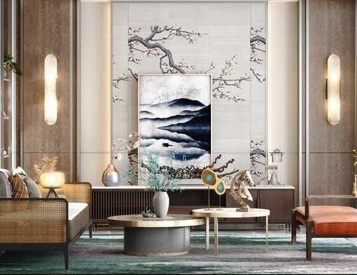新中式沙发, 沙发组合, 新中式壁灯, 装饰画, 沙发茶几组合