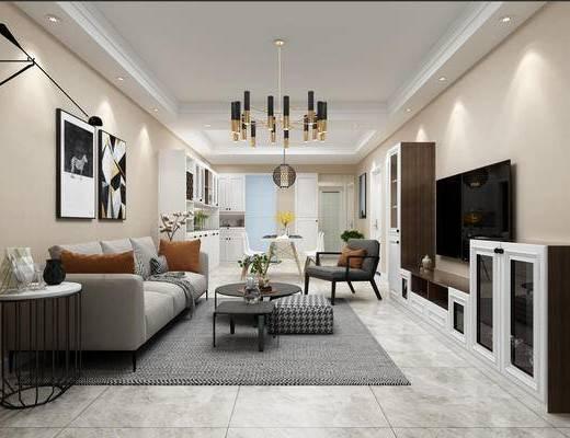 客厅, 现代客厅, 沙发组合, 现代沙发, 沙发茶几组合, 吊灯
