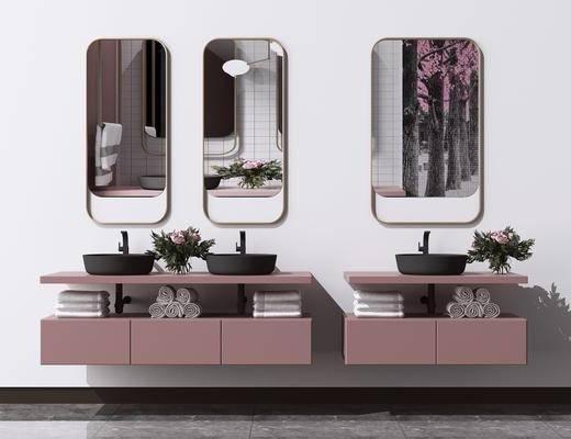 卫浴柜, 洗面盆, 壁镜, 摆件组合