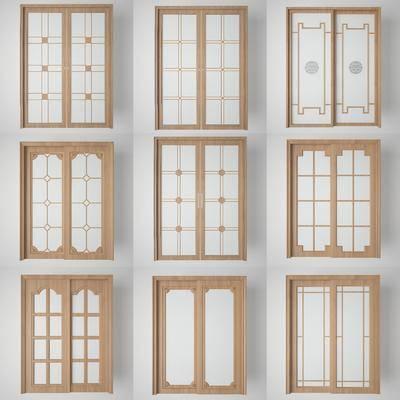 双开门, 玻璃门, 推拉门