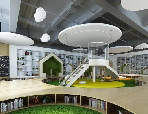 幼儿园, 娱乐区, 滑梯, 玩具, 书籍