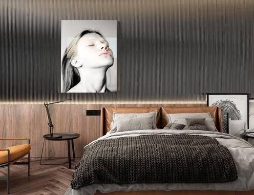 双人床组合, 装饰画, 单椅, 床具组合