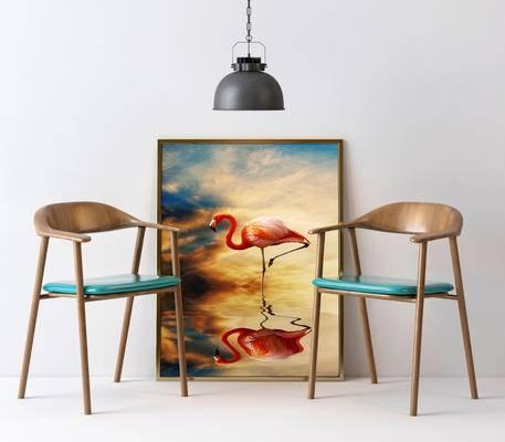 北欧, 单椅, 休闲椅, 装饰画