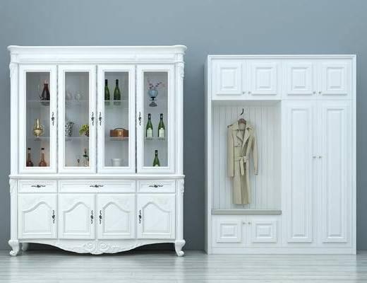 北欧, 酒柜, 鞋柜, 酒瓶, 衣服, 摆件