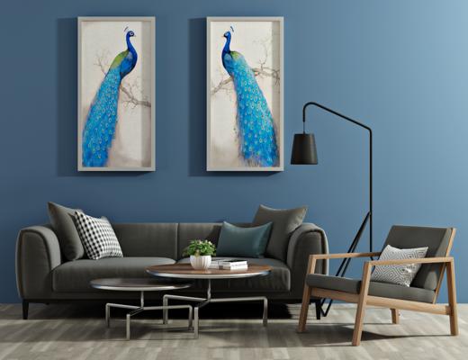 北欧沙发, 茶几, 椅子, 沙发组合, 落地灯, 装饰画, 北欧