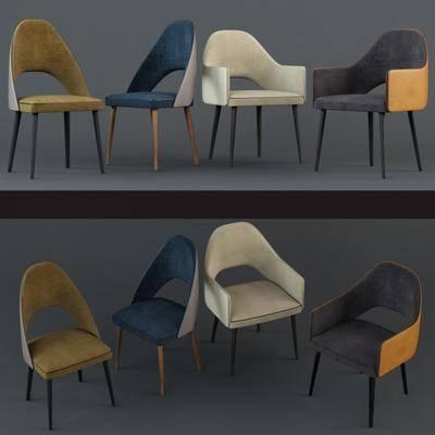 现代餐椅休闲椅单椅组合, 椅子, 现代, 单椅, 休闲椅