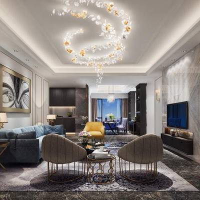现代客厅, 客厅, 现代, 吊灯, 沙发组合, 椅子, 电视柜