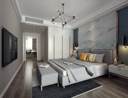 现代卧室, 卧室, 双人床, 床尾凳, 现代