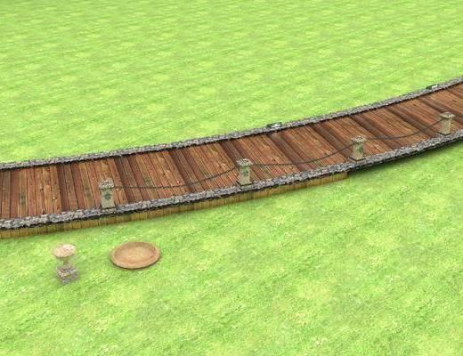 小路木制小道, 木制小桥, 铁索场景部件, 小路, 石盆