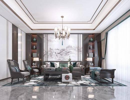 沙发组合, 吊灯, 背景墙, 单椅, 边几, 窗帘, 台灯