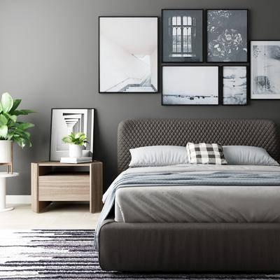 卧室, 双人床, 床头柜, 盆栽, 摆件, 装饰品, 陈设品, 装饰画, 挂画, 照片墙, 北欧