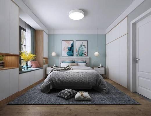 现代卧室, 双人床, 床头柜, 挂画, 吸顶灯