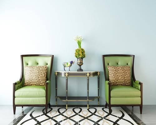 端景台, 椅子, 抱枕, 绿植