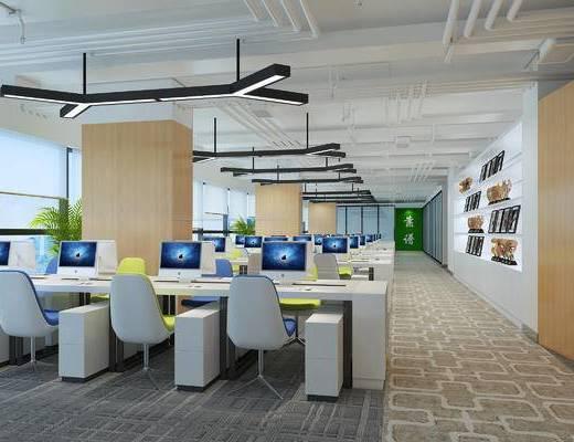 办公室, 现代, 桌子, 电脑, 吊灯, 椅子
