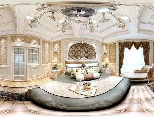 欧式, 卧室, 双人床, 灯具, 床头柜
