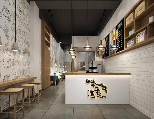奶茶店, 吧台, 吧椅, 单人椅, 前台, 吊灯组合, 餐桌, 餐椅, 置物架, 摆件, 装饰品, 陈设品, 现代