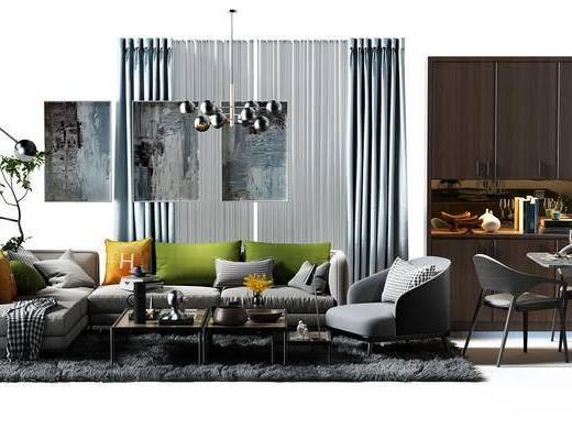 窗帘, 沙发组, 转角沙发, 酒柜, 鞋柜, 餐桌, 桌椅组合, 餐桌椅组合, 盆景, 植物, 地毯, 吊灯