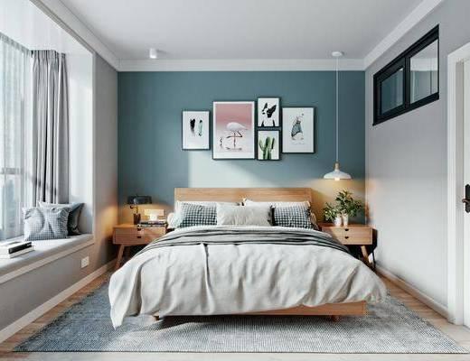 双人床, 装饰画, 吊灯, 床头柜, 衣柜