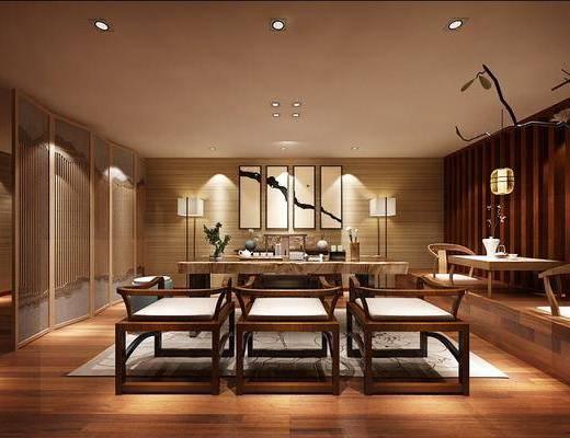 茶馆, 茶桌, 单人椅, 凳子, 装饰画, 挂画, 落地灯, 吊灯, 装饰品, 陈设品, 新中式