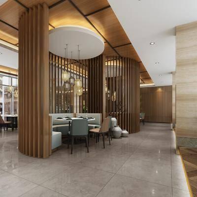 火锅店, 桌子, 单人椅, 绿植植物, 双人沙发, 吊灯, 餐具, 植物墙, 新中式