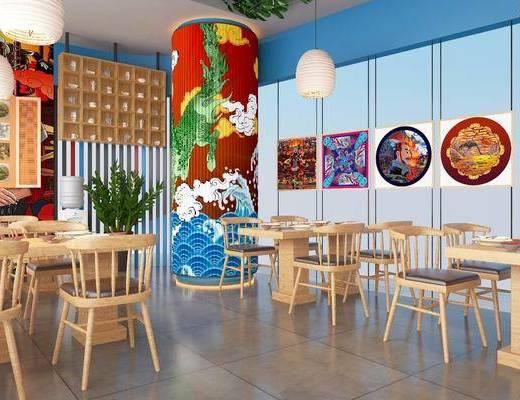 面馆, 餐厅, 餐桌, 餐椅, 单人椅, 吊灯, 墙饰, 装饰架, 装饰柜, 盆栽, 装饰品, 陈设品, 现代
