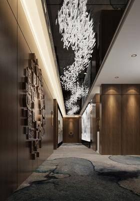 会所走廊, 墙饰, 吊灯, 走廊, 新中式