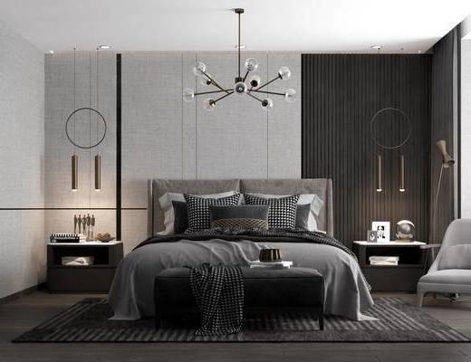 双人床, 请回, 吊灯, 床头柜, 单椅