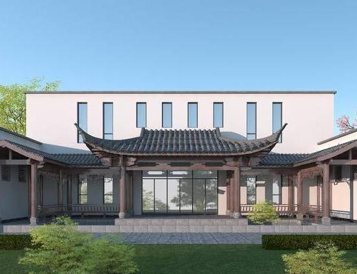 青瓦白墙, 凉亭, 休闲长廊, 古建筑, 亭子, 古建筑大门
