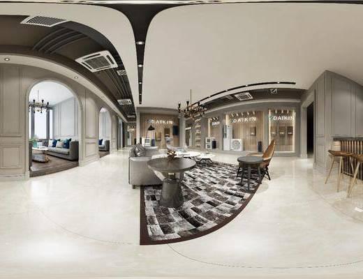 工装全景, 吧台吧椅, 单人椅, 凳子, 多人沙发, 边几, 茶几, 单人沙发, 落地灯, 双人沙发, 吊灯, 摆件, 装饰品, 陈设品, 现代