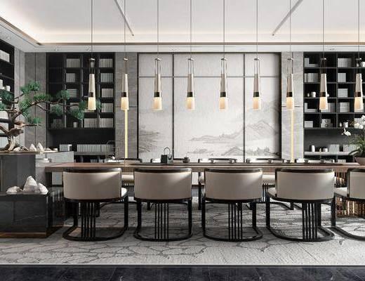桌椅组合, 吊灯, 置物柜, 背景墙, 盆栽植物