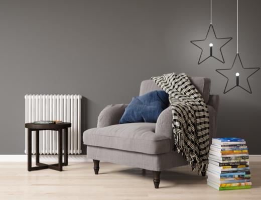 单人沙发, 单椅, 美式单椅, 书籍, 圆几, 摆件组合, 美式