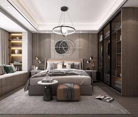 双人床, 墙饰, 床头柜, 吊灯, 衣柜