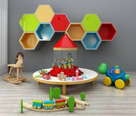 儿童桌椅, 儿童书架, 儿童装饰架, 玩具, 卡通桌椅, 木马, 幼儿园, 卡通装饰柜