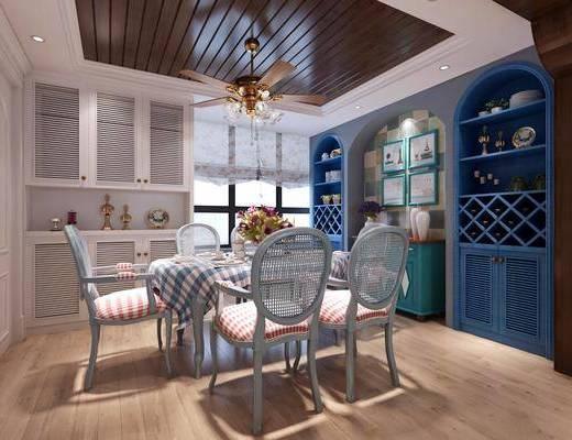 餐厅, 餐桌, 餐椅, 单人椅, 装饰柜, 摆件, 吊灯, 装饰品, 陈设品, 地中海, 双十一