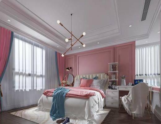 卧室, 女儿房, 双人床, ?#39184;?#26588;, 单人椅, 书桌, 吊灯, 壁灯, 装饰镜, 北欧