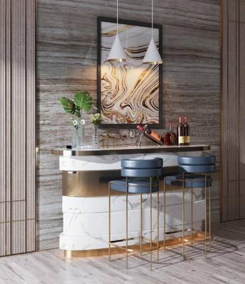 吧台, 吧椅, 装饰品, 红酒, 吊灯