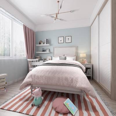 儿童房, 女儿房, 公主房, 北欧卧室, 卧室, 床, 书桌, 椅子, 床头柜, 衣柜, 吊灯
