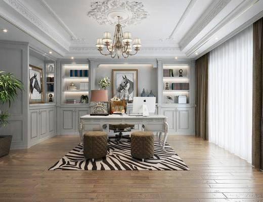 桌椅組合, 吊燈, 書柜, 書架, 裝飾畫, 擺件組合, 盆栽植物