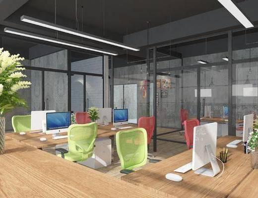 工业风, 办公空间, 办公室, 椅子, 办公桌, 办公椅