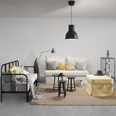 现代, 北欧, 沙发组合, 沙发茶几组合, 边几, 双人沙发, 休闲沙发, 吊灯, 落地灯