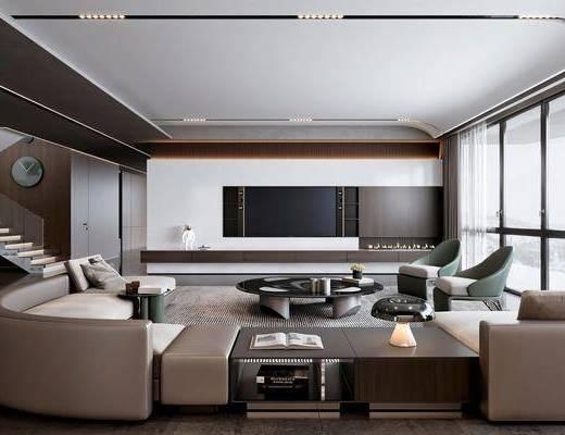 米洛提Minotti, 现代高级灰客厅, 沙发, 茶几