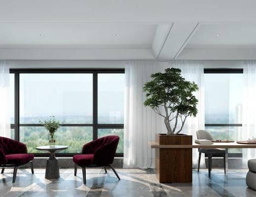 阳台, 露台, 单人沙发, 茶几, 桌子, 单人椅, 盆栽, 装饰柜, 现代