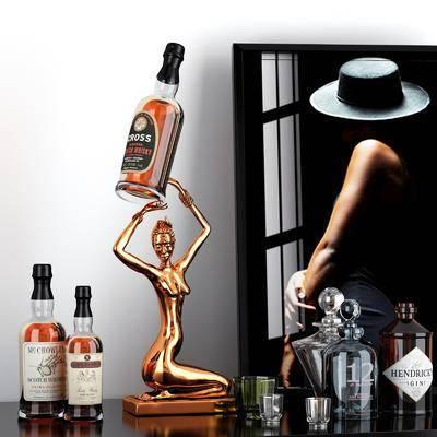 酒瓶, 杯子, 摆件组合