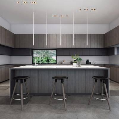 现代厨房, 厨房, 橱柜, 转角橱柜, 吧台, 吧椅, 单椅, 吊灯, 现代