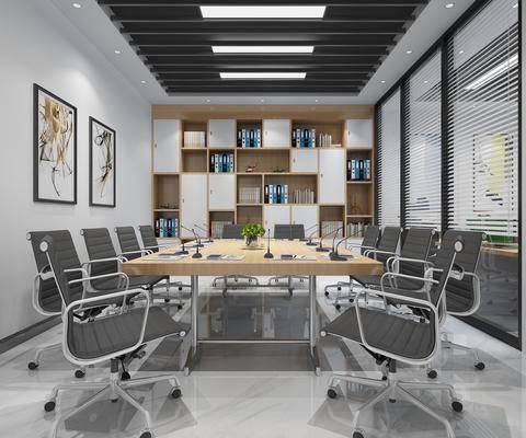 办公桌椅, 书架, 会议室, 装饰画, 书柜, 书籍