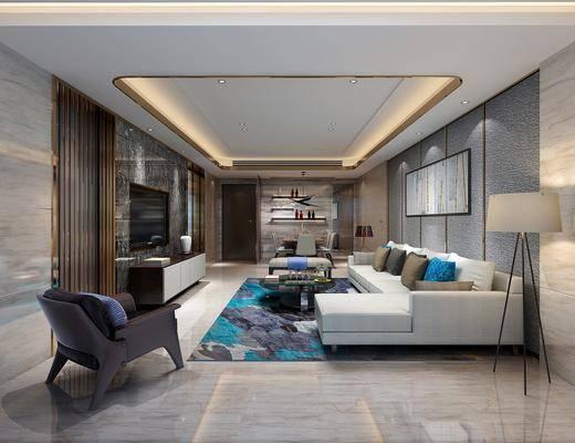 客厅, 餐厅, 多人沙发, 转角沙发, 茶几, 落地灯, 单人沙发, 电视柜, 边柜, 餐桌, 餐椅, 单人椅, 餐具, 现代