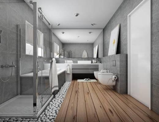 现代, 卫生间, 卫浴用品, 装饰画, 浴缸