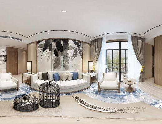 新中式客厅, 客厅, 沙发组合, 中式客厅